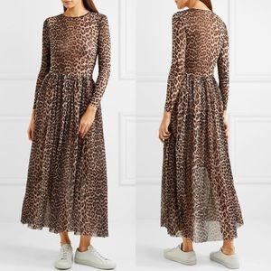 Ganni Tilden Mesh Dress Leopard Animal Print